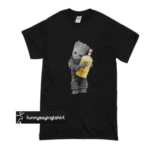 Baby Groot hug Fireball Cinnamon Whisky t shirt