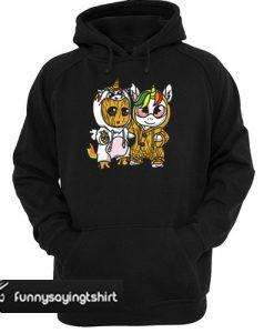 Unicorn Eyes Glasses And Baby Groot hoodie
