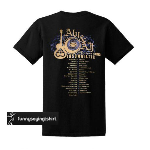 Aly & AJ tour Insomniatic 2007 T Shirt Back