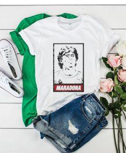 Diego Maradona Obey white parody t shirt