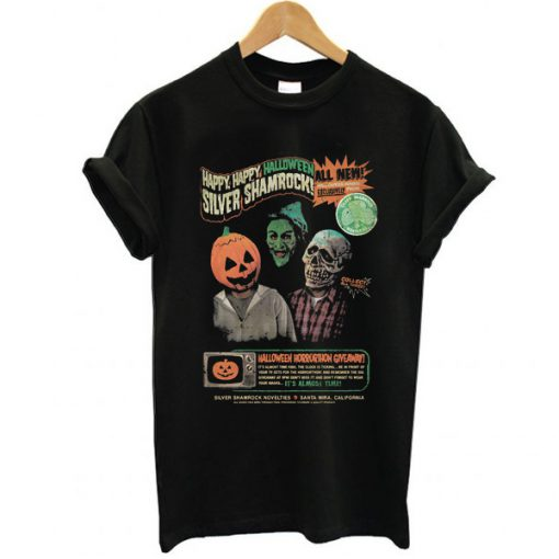 Happy Halloween Silver Shamrock t shirt